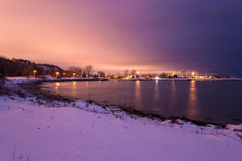 Snowy Beach at Night