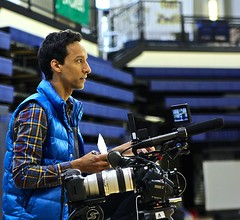 Danny Pudi (Comm '01) visits campus February 2012  shooting footage for the upcoming project for ESPN Film's 30 for 30. The film short, Untucked. Photo by Aaron Ledesma (Comm '14).