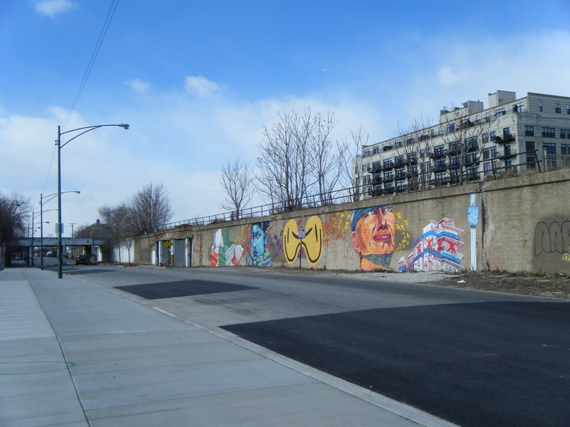 Murals on the railroad embankment along 16th Street