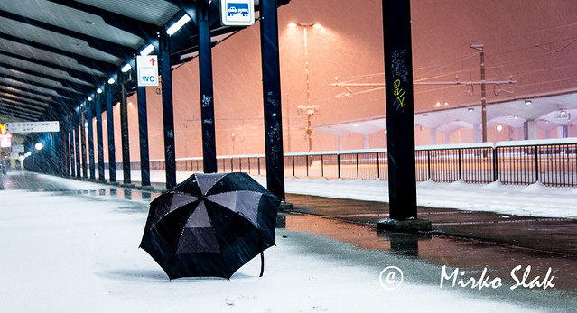 umbrella at the station