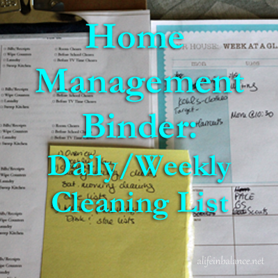 Daily Weekly Cleaning Task List