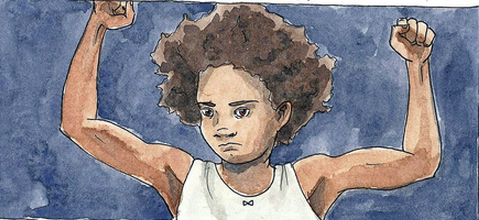 An illustration of Beasts of the Southern Wild's Hushpuppy flexing her arms