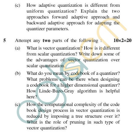 UPTU MCA Question Papers - MCA-404(3) - Data Compression