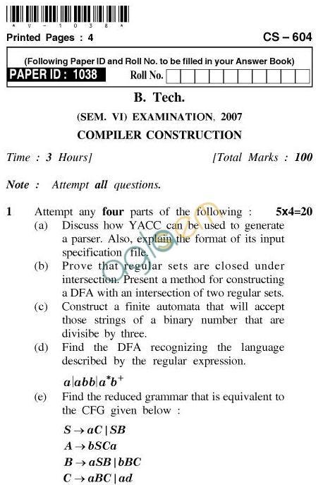 UPTU B.Tech Question Papers - CS-604-Compiler Construction