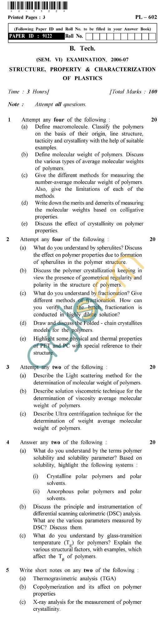 UPTU B.Tech Question Papers -PL-602 - Structure, Property & Characterization of Plastics