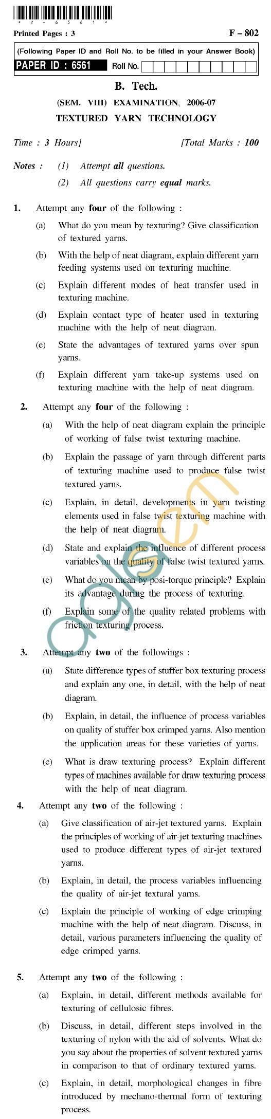 UPTU B.Tech Question Papers - F-802 - Textured Yarn Technology