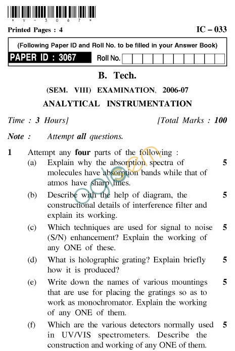 UPTU B.Tech Question Papers -IC-033-Analytical Instrumentation