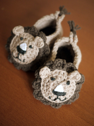 Crocheted Lion  Booties