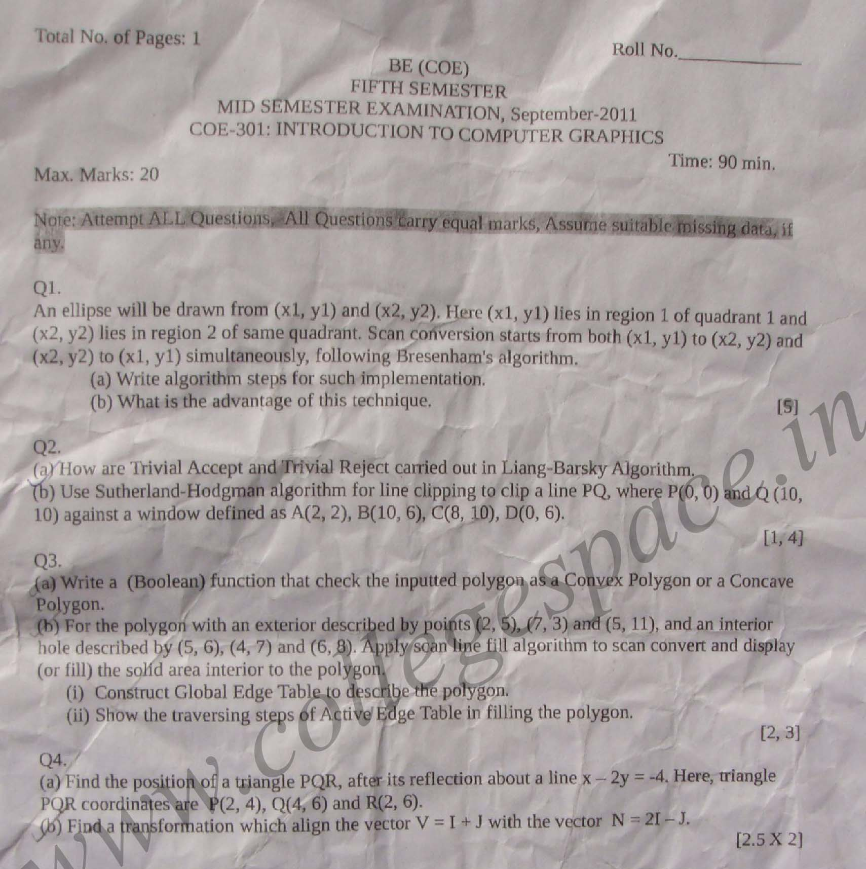 NSIT: Question Papers 2011 – 5 Semester - Mid Sem - COE-301