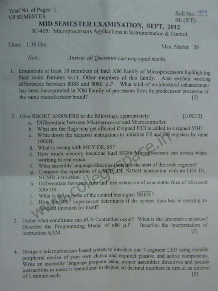 NSIT Question Papers 2012 – 7 Semester - Mid Sem - IC-405