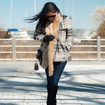 plaid jacket faux fur scarf