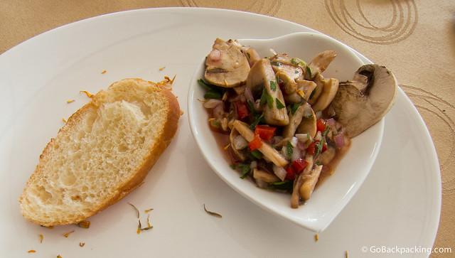 Second course: mushroom ceviche