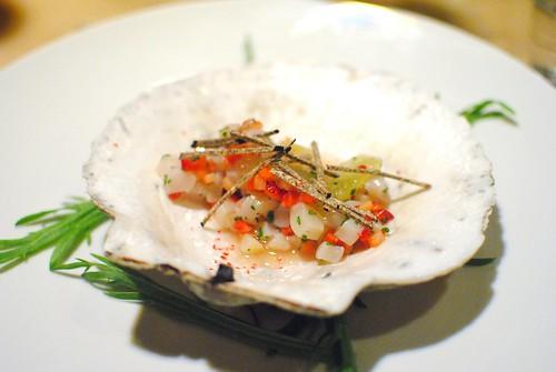 Hokkaido Scallop Tartare – Strawberry – Black Truffle – Elderflower