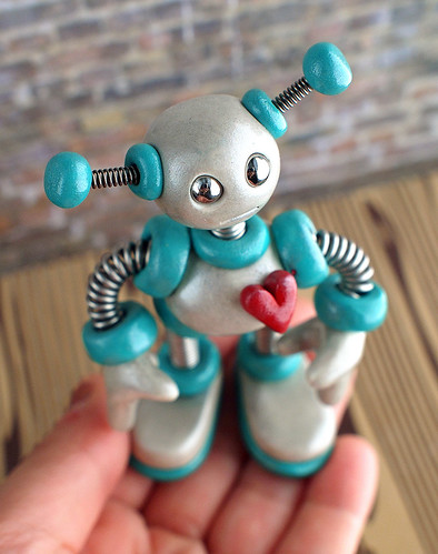 Teal Tim Mini Robot Sculpture Adorable Desk Companion by HerArtSheLoves