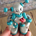 Teal Tim Mini Robot Sculpture Adorable Desk Companion