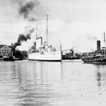 Mid-1930s: HMAS CANBERRA [I] enters the Sutherland Dock, Cockatoo Island - RAN.