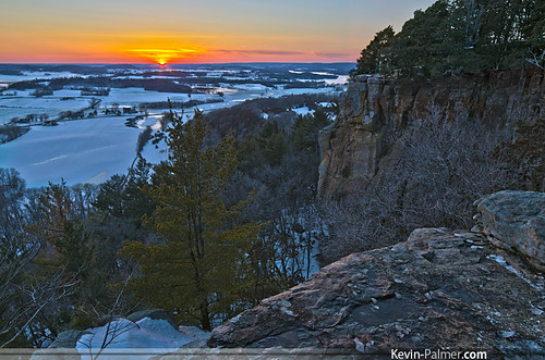 trees light sunset red orange snow cold ice yellow wisconsin golden evening march spring view scenic sunny cliffs hills clear ledge vista icy hdr rolling bluff gibraltarrock lodi columbiacounty