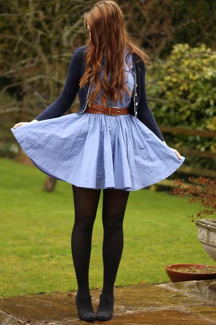 OOTD, outfit post, polka dot chambray shirt dress, shoe boots, navy cardigan, matalan belt, fox necklace