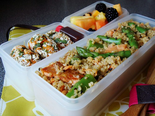 Spring Bento with Smoked Salmon Asparagus Quinoa, Sweet Potato Croquette, Fruit Salad