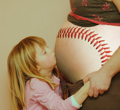 Pregnant Baseball Kiss