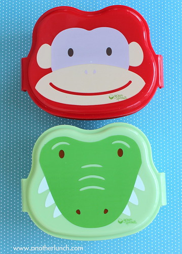 cute animal face bento boxes - Green Sprout monkey and alligator lunch box