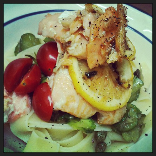 Homemade dinner - picolino cucumber with a hint of anchovy, top with salmon fillet. #food #pasta by melmok
