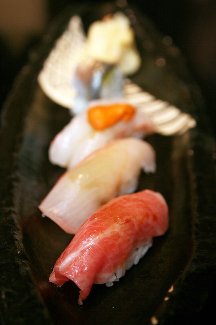 Edomae Style Sushi - Toro, Botan Ebi with Sea Urchin and Gohata Sushi