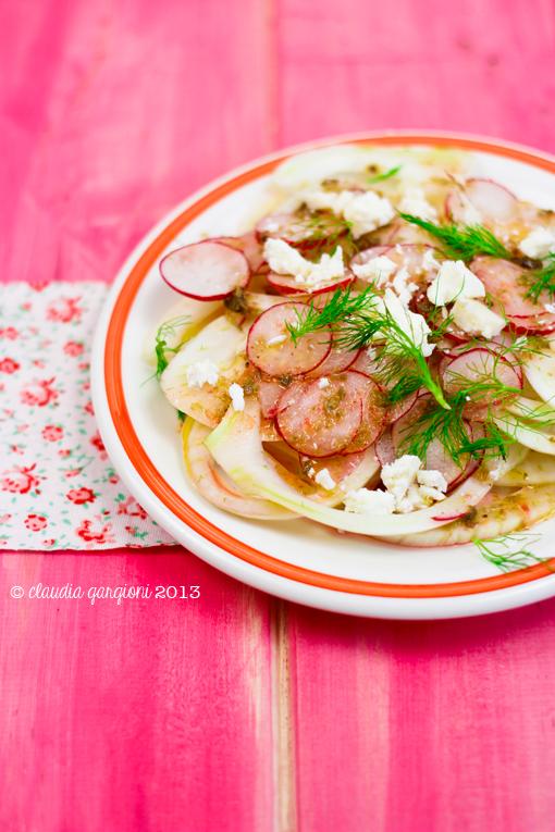 insalata di finocchi, ravanelli, salva cremasco e capperi