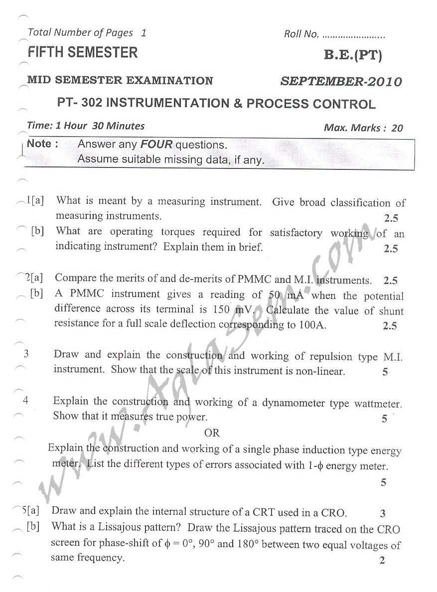 DTU Question Papers 2010 – 5 Semester - Mid Sem - PT-302