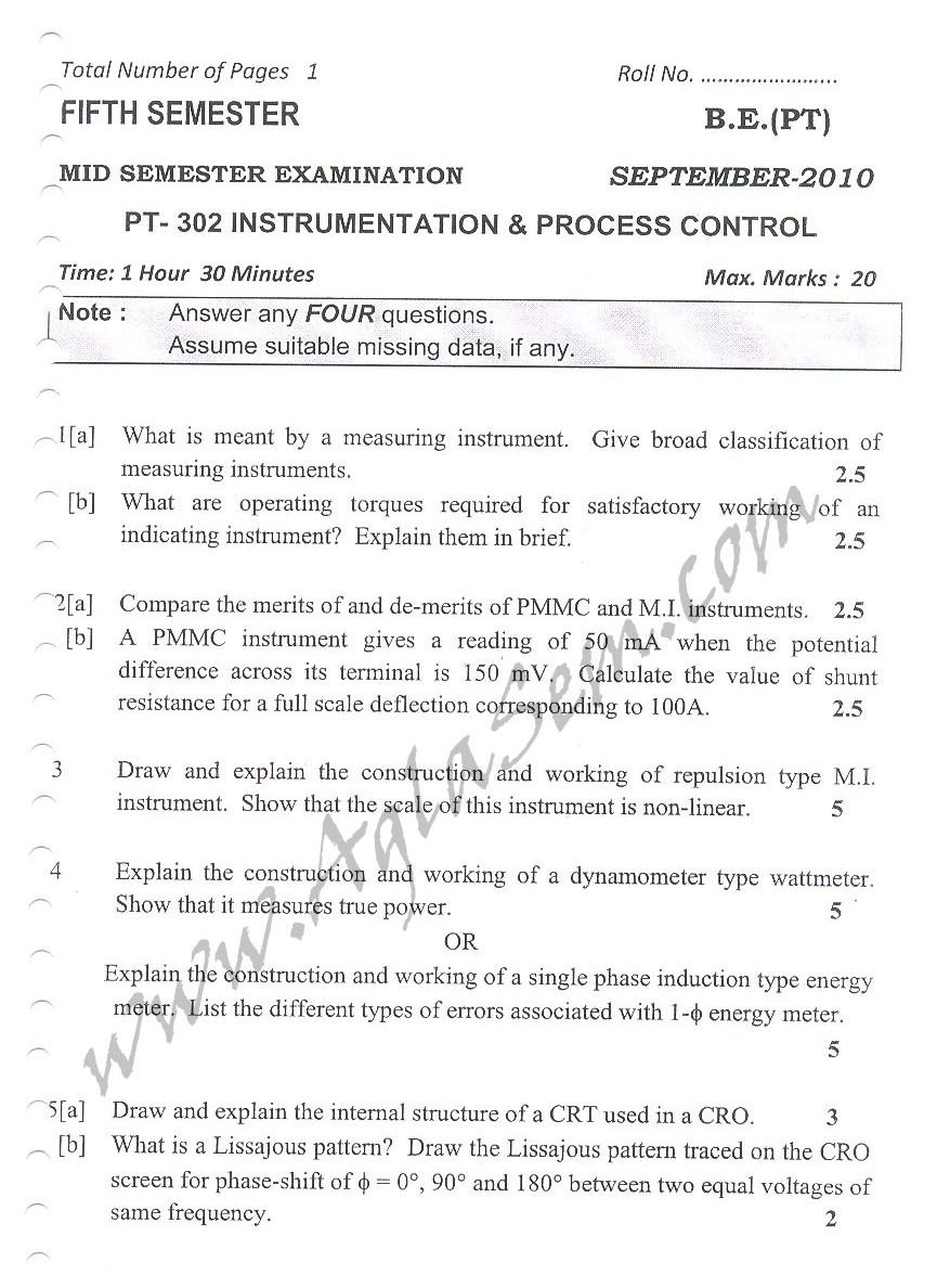 DTU Question Papers 2010 – 5 Semester - Mid Sem - PT-302