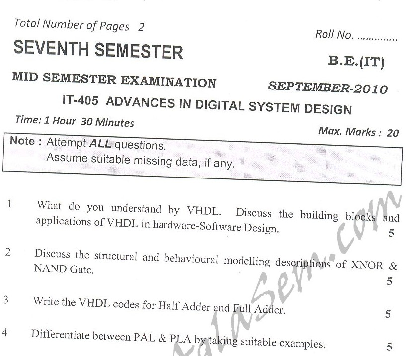DTU Question Papers 2010 – 7 Semester - Mid Sem -  IT-405