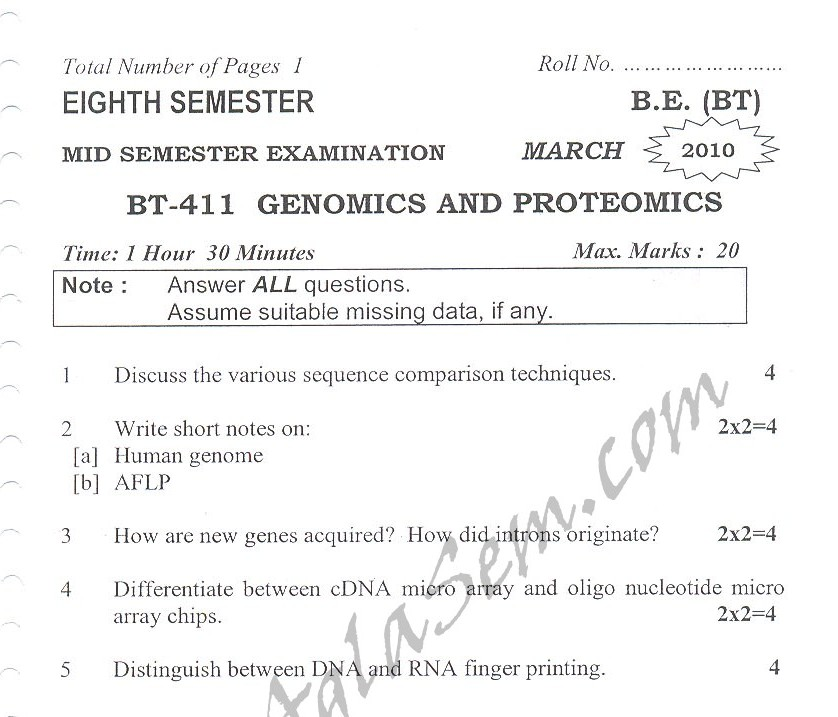DTU Question Papers 2010 – 8 Semester - Mid Sem - BT-411