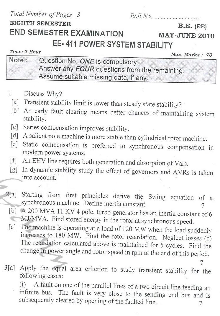 DTU Question Papers 2010 – 8 Semester - End Sem - EE-411