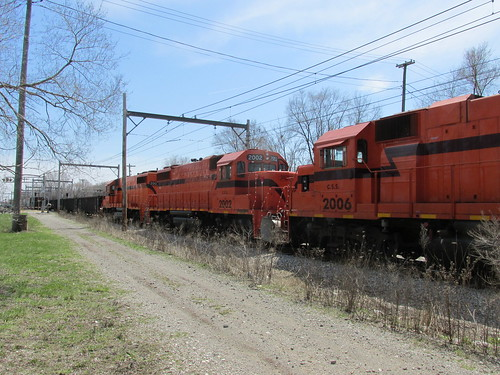 Chicago, South Shore And South Bend Railroad freight train.  Hegwish Illinois. (Chicago)  Sunday, April 21st, 2013. by Eddie from Chicago