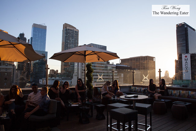 View of the outdoor lounge at sunset