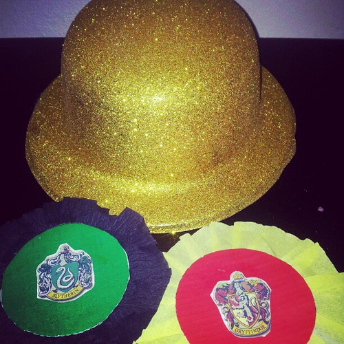 Getting ready for quidditch at the harry potter party this afternoon. And yes the snitch will be a person and they will be wearing the golden hat!
