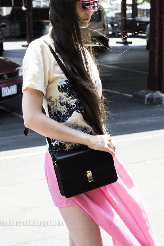 asos look#03 pink skir black leather bag details