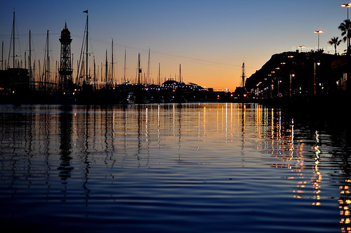 barcelona sunset water boats spain nikon harbour masts d5000 andrewtijou