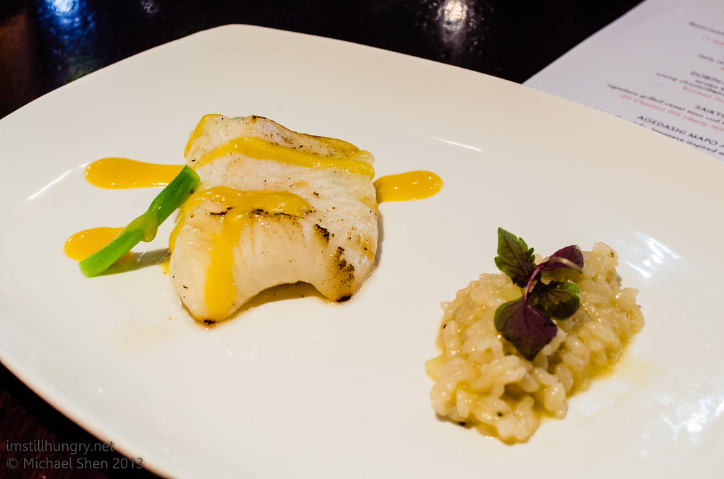 Ocean Room Saikyo miso cod - signature grilled sweet miso cod fillet, ginger risotto, orange miso sauce