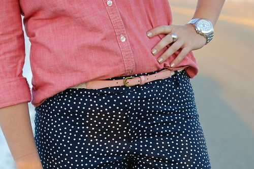 chambray with polka dot pants