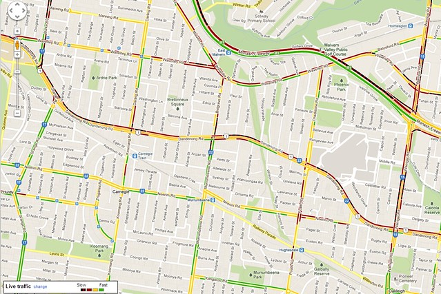 Monash freeway outbound closure 20/2/2013, at 5pm as seen in Google Maps