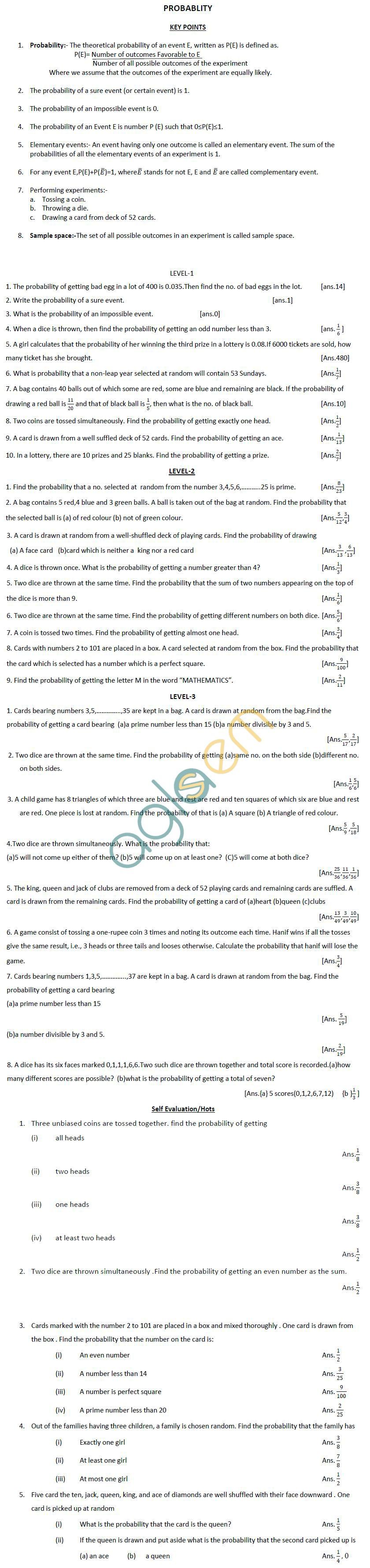 CBSE Class X: Maths - Probability