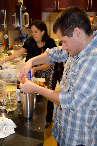 Peruvian Dinner - making pisco sours