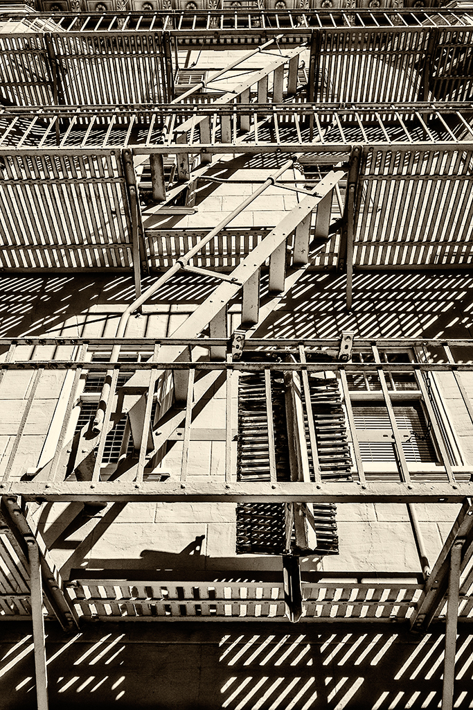 Fire escapes light and shadow --Marina District, San Francisco (black and white)