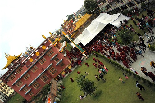 Tharlam Monastery of Tibetan Buddhism, traditional architecture, courtyard, sangha, monks, nuns, tent, Sakya Lamdre, Boudha, Kathmandu, Nepal by Wonderlane