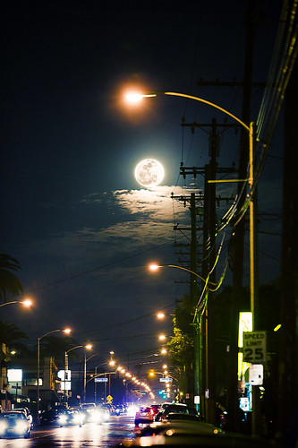Moon over street