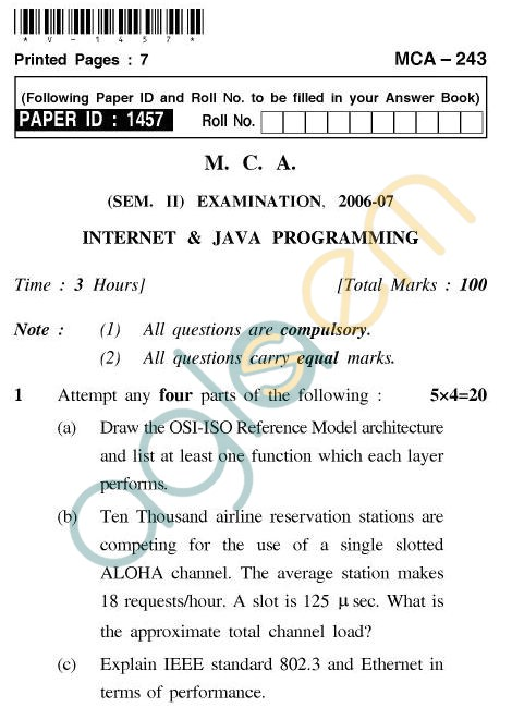 UPTU MCA Question Papers - MCA-243 - Internet & Java Programming