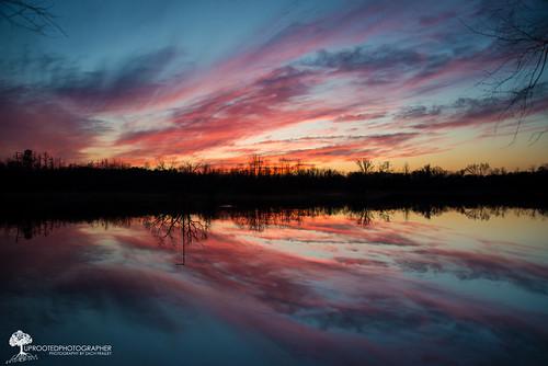 sunset reflection beautiful clouds nc pond nikon colorful northcarolina february kinston d600 2485