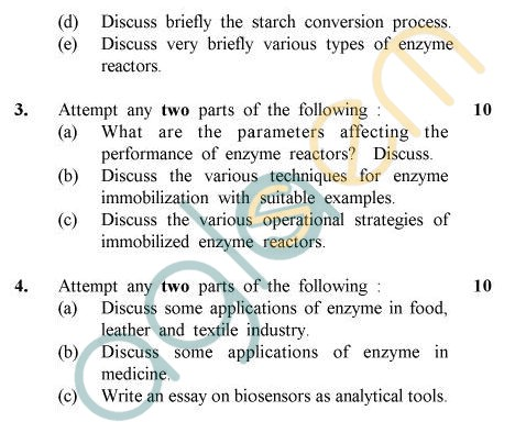 UPTU B.Tech Question Papers - BT-606 - Enzyme Engineering