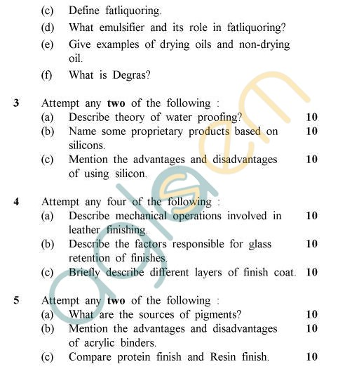 UPTU B.Tech Question Papers - LT-603 - Post Tanning & Finishing Operations